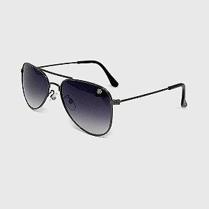 Óculos de Sol Infantil com Proteção UV400 Aviador Preto Lente Degradê