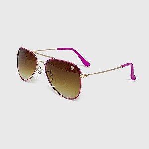 Óculos de Sol Infantil com Proteção UV400 Aviador Pink e Marrom