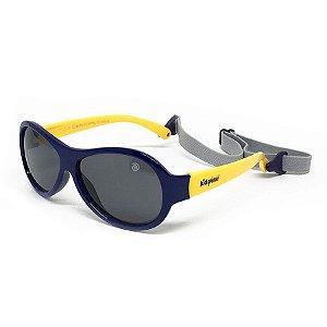 Óculos de Sol Infantil Flexível Esportivo com Tira Elástica, Lente Polarizada e Proteção UV400 Azul Marinho e Amarelo