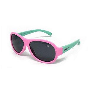 Óculos de Sol Infantil Flexível Esportivo com Lente Polarizada e Proteção UV400 Rosa e Azul Piscina