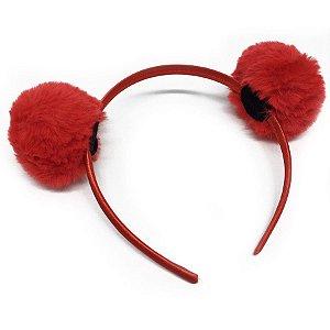Tiara Pompom Pele Vermelha