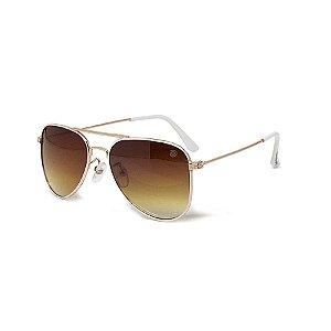 Óculos de Sol Infantil com Proteção UV400 Aviador Branco e Marrom