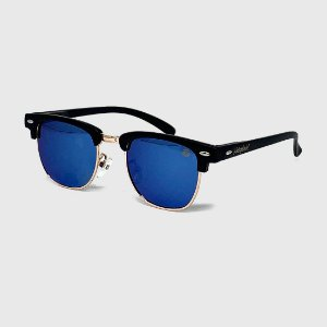 Óculos de Sol Infantil com Proteção UV400 Wayfarer Preto Lente Espelhada Azul