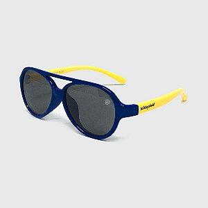 Óculos de Sol Infantil Flexível Aviador com Lente Polarizada e Proteção UV400 Azul Marinho e Amarelo