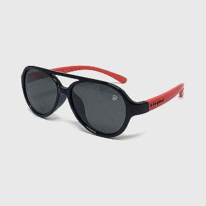Óculos de Sol Infantil Flexível Aviador com Lente Polarizada e Proteção UV400 Preto e Vermelho