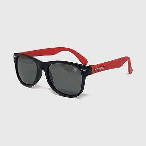 Óculos de Sol Infantil Flexível com Lente Polarizada e Proteção UV400 Preto e Vermelho
