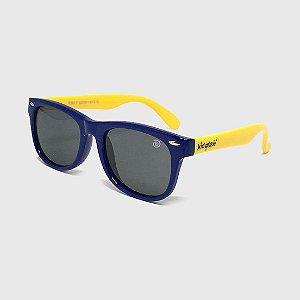 Óculos de Sol Infantil Flexível com Lente Polarizada e Proteção UV400 Azul Marinho e Amarelo