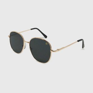 Óculos de Sol Infantil Metal Redondo Mini com Lente Polarizada e Proteção UV400 Preta