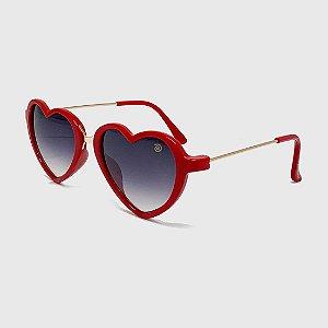 Óculos de Sol Infantil com Proteção UV400 Coração Acetato Teen Vermelho
