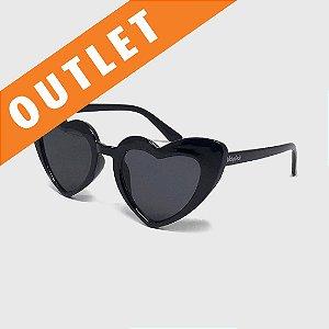 [OUTLET] Óculos de Sol Infantil com Proteção UV400 Coração Acetato Preto