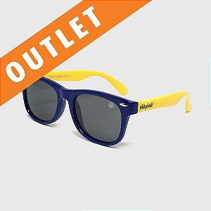 [OUTLET] Óculos de Sol Infantil Flexível com Lente Polarizada e Proteção UV400 Azul Marinho e Amarelo
