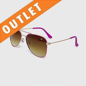[OUTLET] Óculos de Sol Infantil com Proteção UV400 Aviador Pink e Marrom