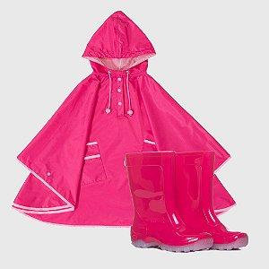Kit Capa de Chuva Pink + Galocha Kids Lisa Pink