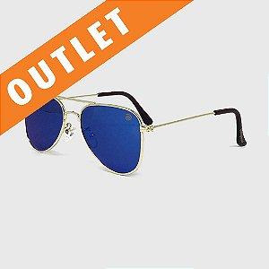 [OUTLET] Óculos de Sol Infantil com Proteção UV400 Aviador Espelhado Azul