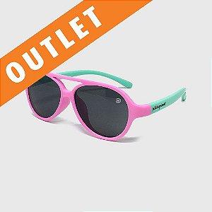 [OUTLET] Óculos de Sol Infantil Flexível com Lente Polarizada e Proteção UV400 Aviador Rosa e Azul Piscina