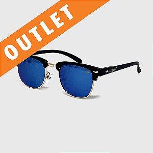 [OUTLET] Óculos de Sol Infantil com Proteção UV400 Wayfarer Preto Lente Espelhada Azul