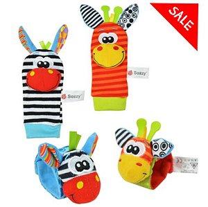 Kit meias e pulseiras chocalhos interativos estilo Lamaze
