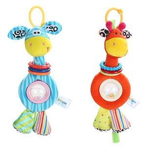 Bichos de Pelúcia Zebra e Girafa com Chocalho estilo Sozzy
