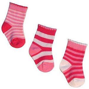 Kit com 3 pares de meias importadas para bebê 0 a 2 meses  - Feminino
