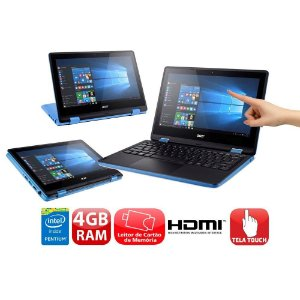 """*n5099* Notebook 2 em 1 Touch Acer Aspire R3-131T-P7QW com Intel® Pentium® Quad Core, 4GB, 500GB, Leitor de Cartões, HDMI, Bluetooth, LED 11.6"""" e Windows 10 Aceitamos seu usado como parte do pagamento!"""