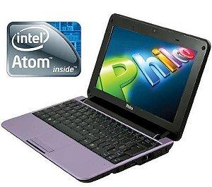 Netbook Roxo Philco 10B Intel Atom 1.8Ghz HD 320GB 2GB completo 3 USB, Wifi, Webcam, VGA, Slot SD, Windows 7.  *N5096*