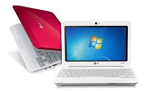 "Notebook Rosa LG X140 Intel Atom 1.83ghz HD 320gb 2gb Tela 10.1"" 3 USB, Wifi, VGA, Win 7, Aceitamos notebooks usados na troca. *5211*"