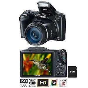 """Câmera Semi Profissional Canon Powershot SX400IS Preta – 16.0MP, LCD 3.0"""", Zoom Óptico de 30x, Estabilizador Inteligente, Lente 24mm e Vídeo HD + Cartão de 8GB *7152*"""