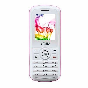 Celular MEU405 Dual Chip, Rosa e Branco, câmera digital, Rádio FM, Gravador de áudio e vídeo *7468*