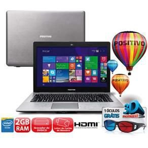 "Notebook Positivo STILO XR3000 Com Óculos 3D, Intel Celeron 1.58ghz HDD 320GB, 2GB Tela 14"" Win 8.1  *7504*"