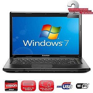 Notebook Lenovo G475 AMD C-50 3GB HD 500GB Wifi, Webcam, DVD, Slot de cartão SD, Win 7. Aceitamos notebooks usados *7815*