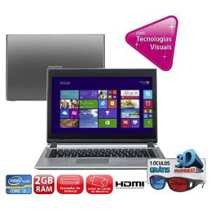 "Notebook Positivo Premium S6055 14""polegadas Intel Core I3 320GB 2GB DVD, Webcam, Wifi, HDMI Win 7 *7522*"