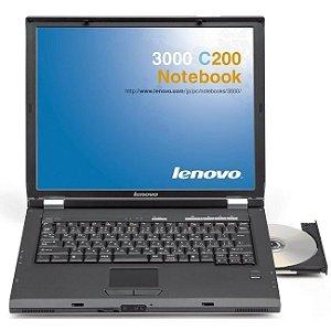 """*691* Notebook usado Lenovo 3000 c200 com Intel® Core 2 Duo. 1.66ghz™, 2GB, 160GB, Gravador de DVD, 4 USB, Leitor de Cartões, Firewire, Wireless, Tela 14"""" e Windows 7"""