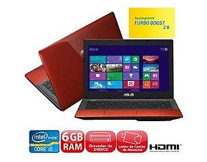 """*N5007-2* Notebook Asus K45A Core i5 2.5ghz, HD 500, 6 GB, Tela 14"""" Wifi, Webcam, 3 USB, HDMI, VGA, Saída VGA, Windows 8. Vermelho. Equipamento muito lindo. Aceitamos diversos produtos como parte do pagamento, venha já para nossa loja."""