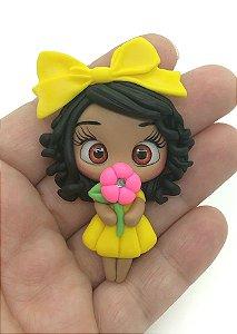 Aplique de Biscuit - Menininha Vestido Amarelo - Unidade