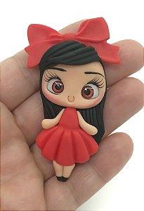 Aplique de Biscuit - Menininha Vestido Vermelho - Unidade