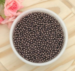 Pérola Colorida - Chocolate - 4mm - Pacote 20 gramas