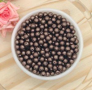 Pérola ABS - Chocolate - 8mm - Pacote 30 gramas