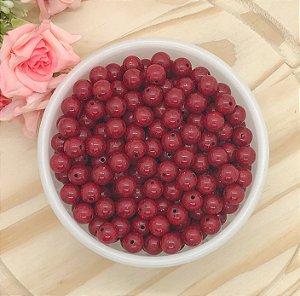 Miçanga Tipo Cerâmica Craquelada - Vermelha - 10mm - Pacote 30 gramas