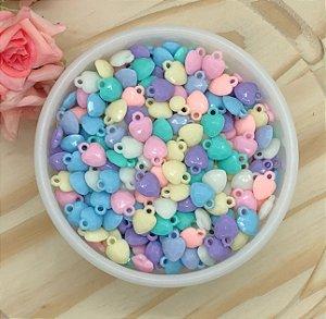 Pingente Acrílico Candy Colors - Coração - Pacote 20 gramas