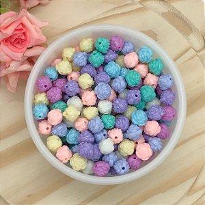 Miçanga Flor Rosas Candy Colors - Pacote 30 gramas