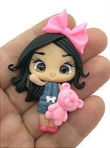 Aplique de Biscuit - Menininha Ursinho Rosa - Unidade