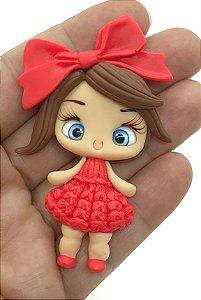Aplique de Biscuit - Menininha Vestido Tricô Vermelho - Unidade