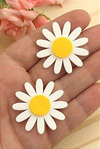 Aplique de Acrílico - Flor Margarida Branca - 2 Unidades