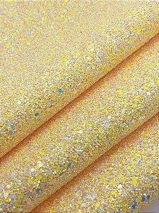 Lonita Glitter Flocado - Amarela - 24x35cm - Unidade