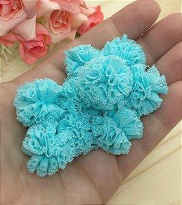 Pompom de Malha - 2,5cm - Azul Piscina - 10 unidades