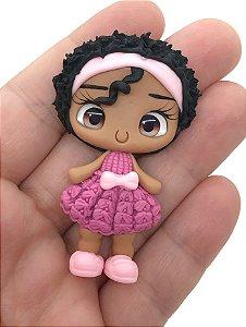 Aplique de Biscuit - Meninas com Vestido de Tricô Rosa Escuro - Unidade