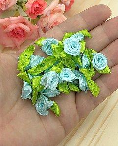 Florzinha Rococó com Folhas - Azul Claro - Pacote 20 unidades