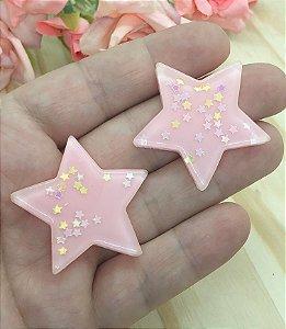 Aplique de Estrela Candy - Rosa Claro - 2 unidades