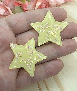 Aplique de Estrela Candy - Amarela - 2 unidades