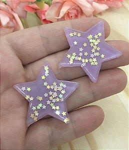 Aplique de Estrela Candy - Lilás - 2 unidades